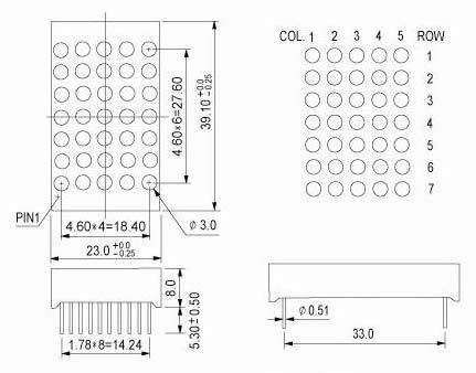 1.2 inch 5x7 dual warna LED dot matrix